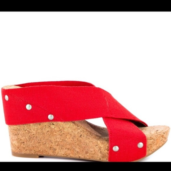 8ddcc4505f4 Lucky Brand Shoes - Lucky Brand Red Cork Wedges